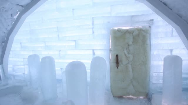 wide shot the interior of a room made from snow and ice at the royce ice hills hotel in tobetsu hokkaido japan on sunday feb 15 pan left to right the... - igloo stock videos & royalty-free footage