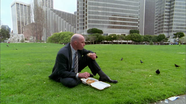 Wide shot tilt down from skyscrapers / businessman eating lunch on lawn / feeding birds