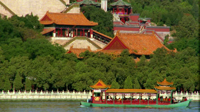 Wide shot tilt up pan from boat on river to traditional buildings at Imperial Summer Palace / Beijing, China