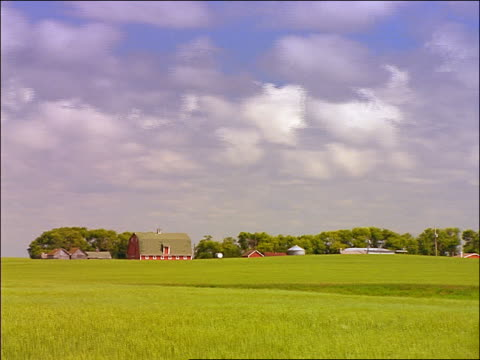 vidéos et rushes de wide shot time lapse clouds in blue sky over green fields with red farm buildings in background / brandon, manitoba - cinématographie