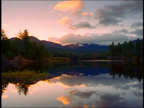 wide shot time lapse clouds moving over lake with reflections, pine forest and snowcapped mountains in background - pinaceae stock videos & royalty-free footage
