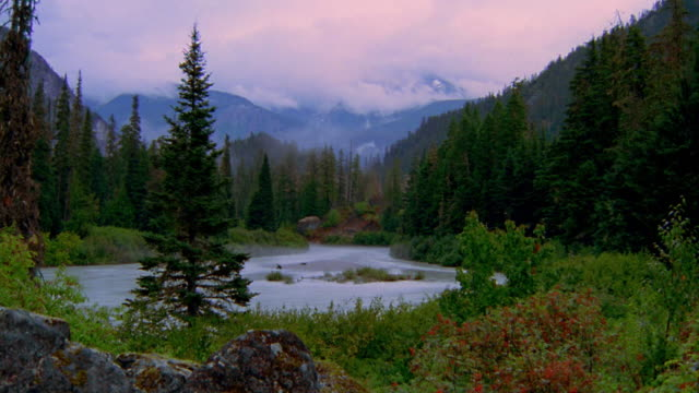Wide shot time lapse clouds over river with steam rising / forest and mountains in background / Whistler, British Columbia