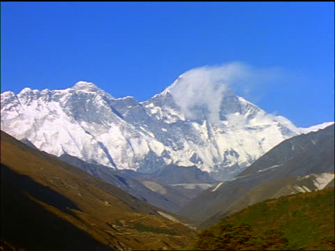 wide shot time lapse shadows moving toward mt everest with clouds during sunset / himalayas - snowcapped mountain stock videos and b-roll footage