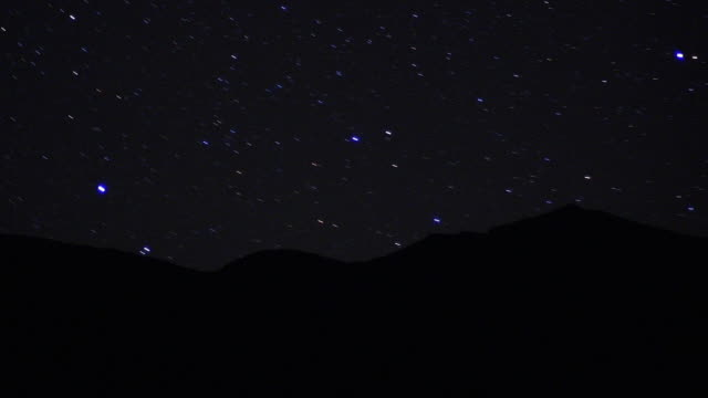 Wide shot time lapse stars moving behind silhouetted sand dunes at night / Sahara Desert, Morocco