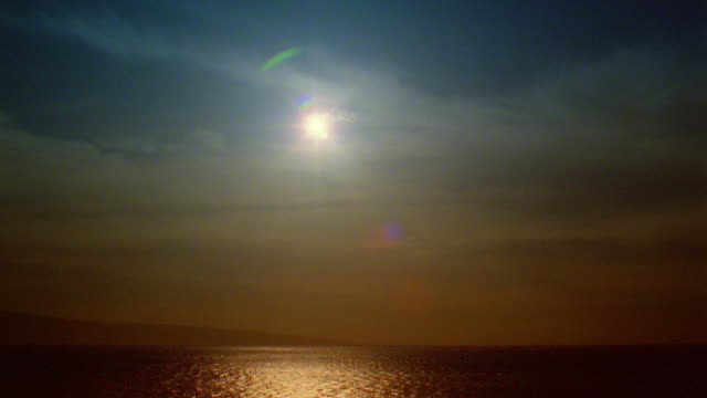 wide shot time lapse sun setting over ocean with rolling clouds / hawaii - 1985 stock videos & royalty-free footage