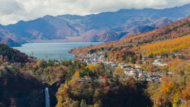4k wide shot timelapes kegon falls in autumn season, nikko, japan. - high dynamic range imaging stock videos and b-roll footage