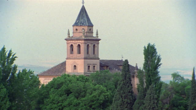 1999 wide shot tower overlooking the alhambra/ granada, spain - circa 13th century stock videos and b-roll footage