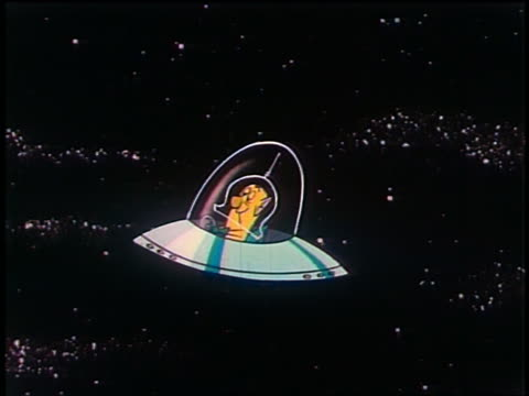 1948 ANIMATED wide shot tracking shot spaceship with Martian pilot flying towards earth + 'United States of America'