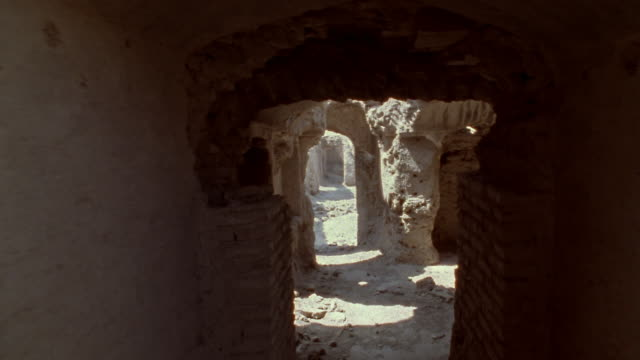 1999 wide shot tunnels and passageways winding through ruins of ancient citadel of bam/ bam, kerman province, iran - 6th century bc stock videos and b-roll footage