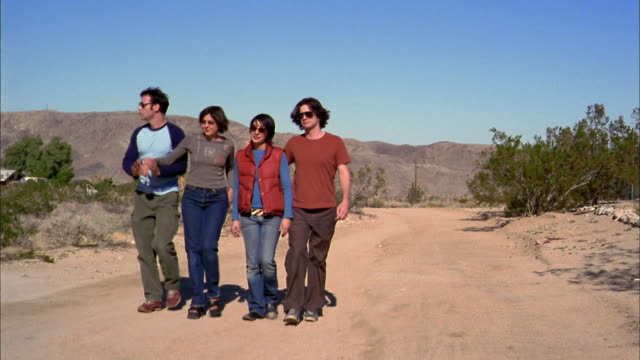 wide shot two couples walking arm-in-arm on desert path - 2000s style点の映像素材/bロール
