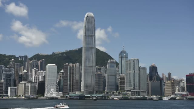 wide shot, two international finance centre , center, and other commercial and residential buildings standing on hong kong island are seen from the... - hong kong island stock videos & royalty-free footage