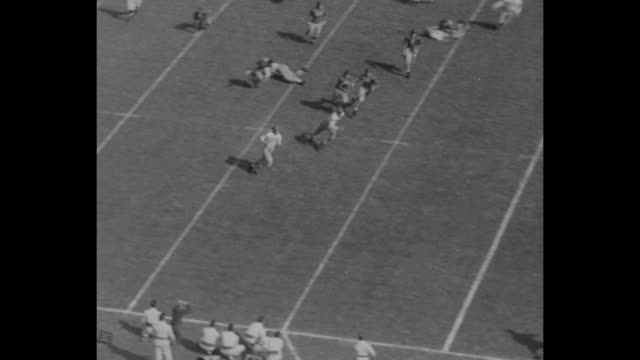 vídeos de stock e filmes b-roll de wide shot university of southern california trojans ohio state buckeyes football teams face each other crouched in formation trojans on offence ball... - terceiro quarto de tempo