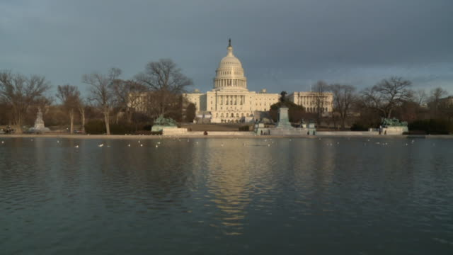 wide shot us capitol and reflecting pool on february 13 2011 in washington dc - house of representatives stock videos & royalty-free footage