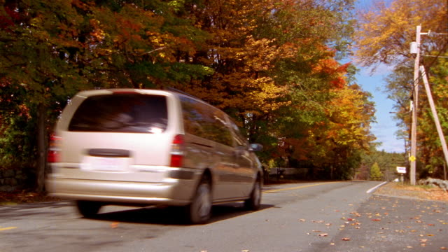 wide shot van traveling along tree-lined road - people carrier stock videos & royalty-free footage