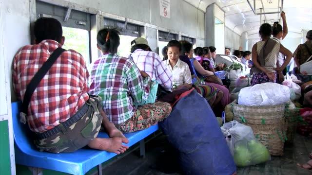 Wide shot Vendor and passengers at Old Circular train of Yangon Shot on January 2016