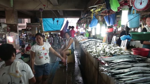 wide shot, vendors arrange seafood for sale as customers walk past at the old market in puerto princesa, palawan, wide shot, a vendor points at fish... - wet stock videos & royalty-free footage