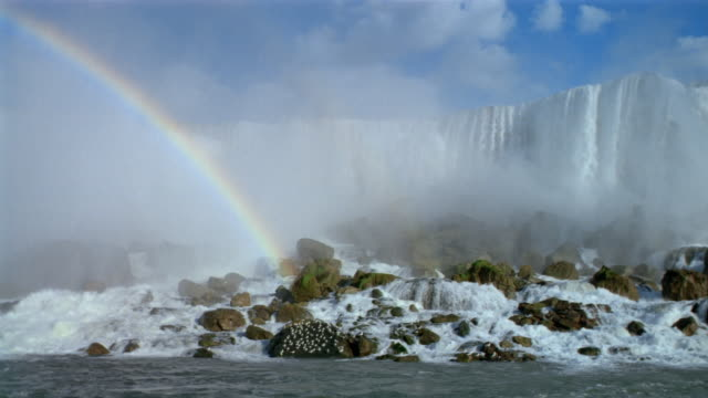 Wide shot view of American Falls with rainbow / pan to Bridal Veil Falls / Niagara Falls, Canada