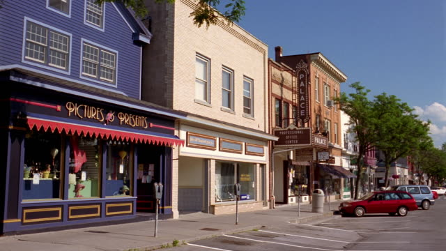 Wide shot view of storefronts on main street