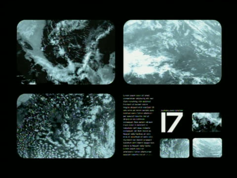 wide shot weather satellite views of cloud cover and data displays - digital animation stock videos & royalty-free footage