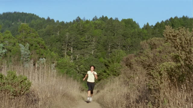 wide shot woman running up hill on forest trail/ woman stopping, looking at watch, and resting/ california - 40 44 years stock videos & royalty-free footage