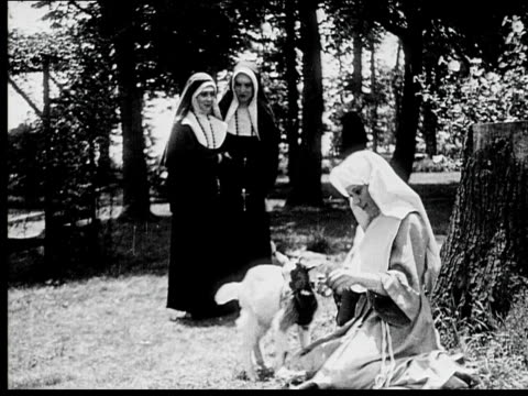 1916 b/w wide shot young nun hugging and feeding goat in garden while other nuns walk past in pairs - 1916 stock videos & royalty-free footage