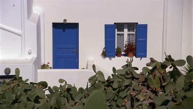 Wide shot zoom in door and window of house with prickly pear garden in front / Mykonos, Greece