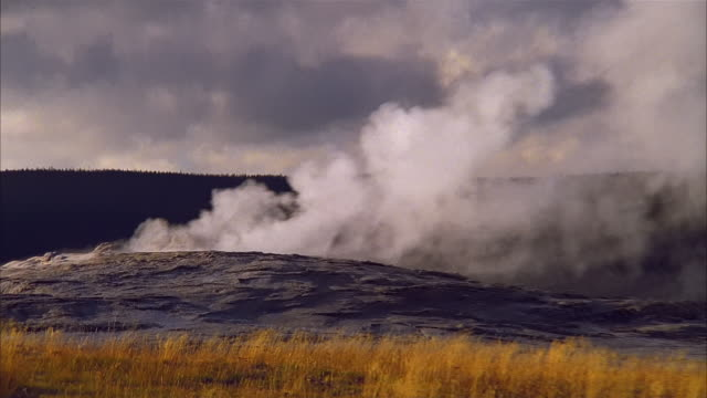 wide shot zoom in medium shot steam rising from geyser at yellowstone national park / zoom out ws pan blowing across field - 景勝地点の映像素材/bロール
