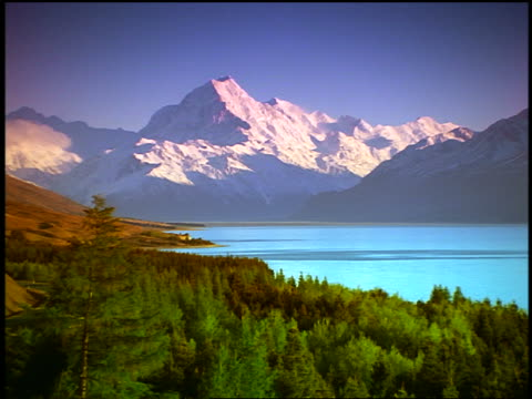 wide shot zoom in snow-covered Mt. Cook near Lake Pukaki / S. Island / New Zealand