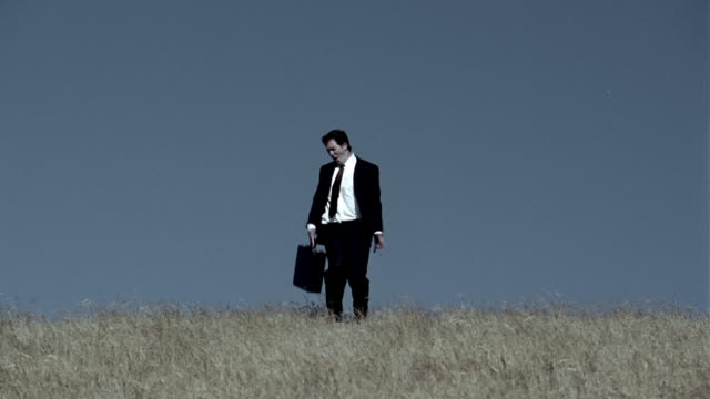 Wide shot zoom out businessman walking through field towards CAM / spinning briefcase around and dancing