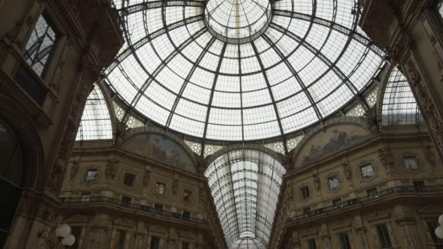 wide shot/pan up of skylights in galleria vittorio emanuele ii / milan, italy - galleria vittorio emanuele ii stock videos and b-roll footage