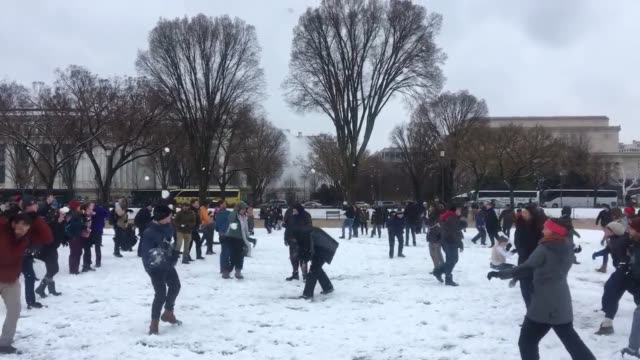 2 wide shots 2min NATS of the National snowball fight Broll battle footage