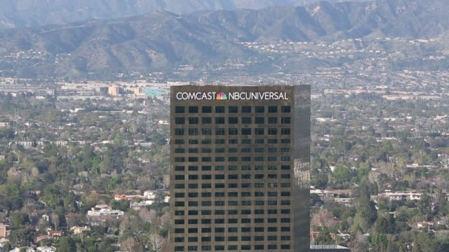 wide shots look down at the comcast nbc universal office building in los angeles california on february 22nd 2016 photographer patrick fallon... - nbc stock videos & royalty-free footage