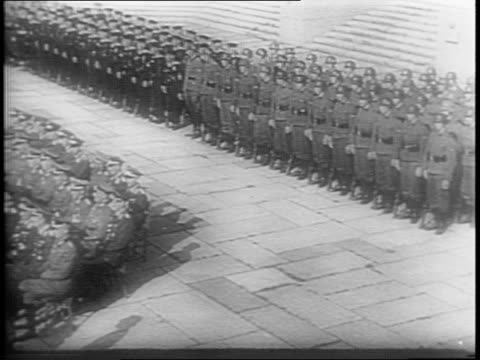 wide shots of nazi soldiers standing at attention in tannenberg memorial, funeral for general gunter korten / medium profile shot of hermann goering... - witwe stock-videos und b-roll-filmmaterial