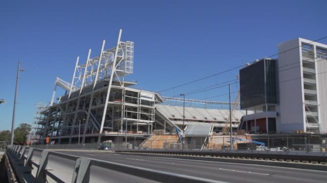 wide shots of the new home of the san francisco 49ers levi's stadium on august 29, 2013 in santa clara, california, a slow motion panning shot of... - levi's stock videos & royalty-free footage