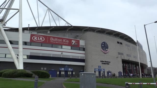 wide shots of the university of bolton stadium home of bolton wanderers the club are on the brink of liquidation with their 145year history hanging... - liquidation stock videos and b-roll footage