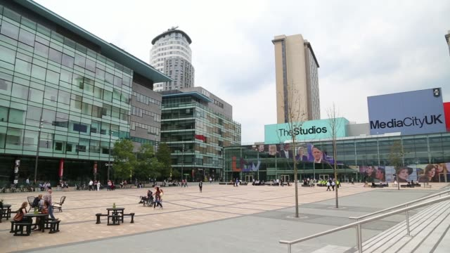 wide shots the mediacityuk property development site at salford quays in greater manchester, uk, on wednesday, july 2 wide shot plaza area at... - salford quays stock videos & royalty-free footage
