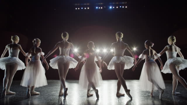 Wide slow motion panning shot of ballerinas bowing on stage / Salt Lake City, Utah, United States