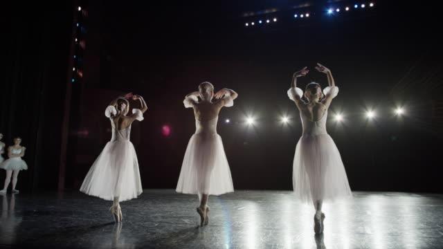 Wide slow motion panning shot of ballerinas dancing on stage / Salt Lake City, Utah, United States