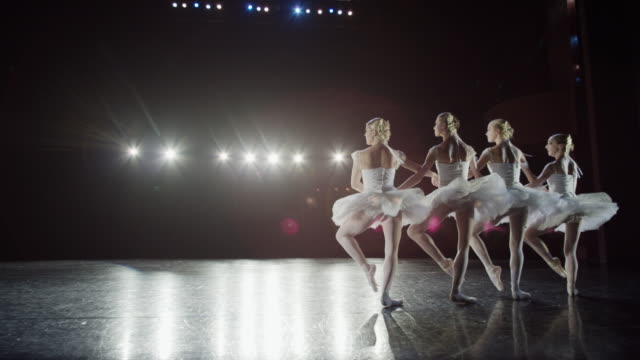 Wide slow motion panning shot of ballerinas dancing / Salt Lake City, Utah, United States