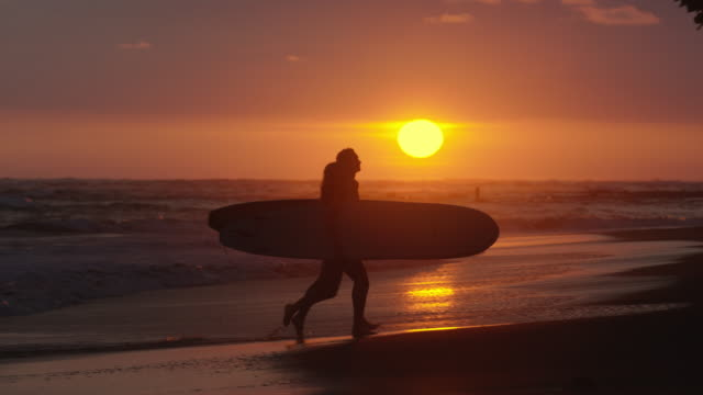 wide slow motion panning shot of couple carrying surfboards on beach at sunset / esterillos, puntarenas, costa rica - puntarenas stock-videos und b-roll-filmmaterial