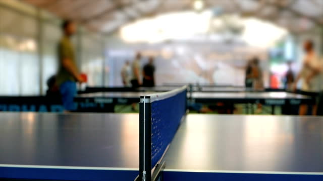 wide slow motion shot of a table tennis game - table tennis stock videos & royalty-free footage