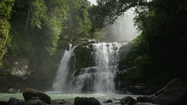 vídeos de stock, filmes e b-roll de wide slow motion shot of waterfall and river in rain forest / santa juana, costa rica - cascata