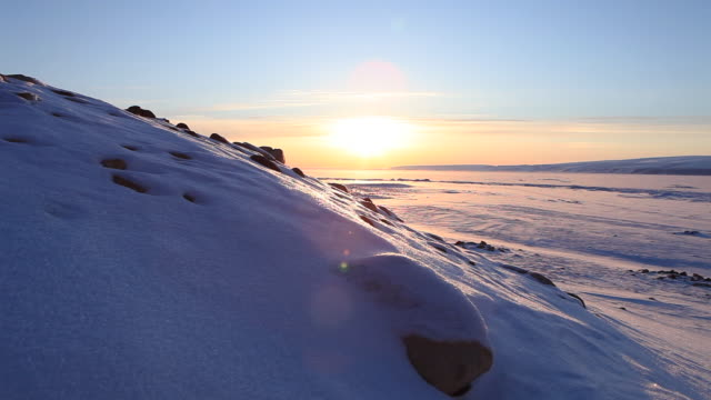 wide, sunrise over greenland mountain ridge - wide stock videos & royalty-free footage