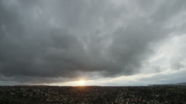 Wide, sunset over South African city