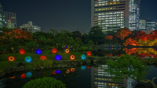 wide timelapse, rikugien gardens at night - satoyama scenery stock videos and b-roll footage