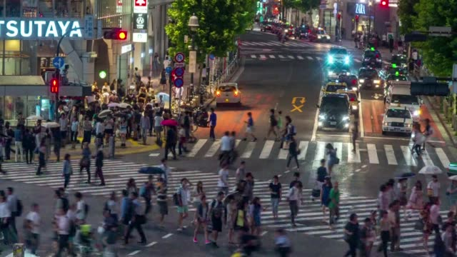 Wide timelapse shots of the downtown Tokyo Japan skyline lit up at night Wide timelapse shots of crowded sidewalks in downtown Tokyo Japan Wide...