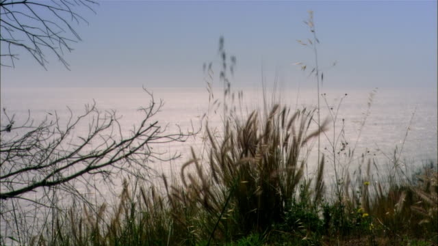 Wide tracking shot ocean horizon from road/ Malibu, California