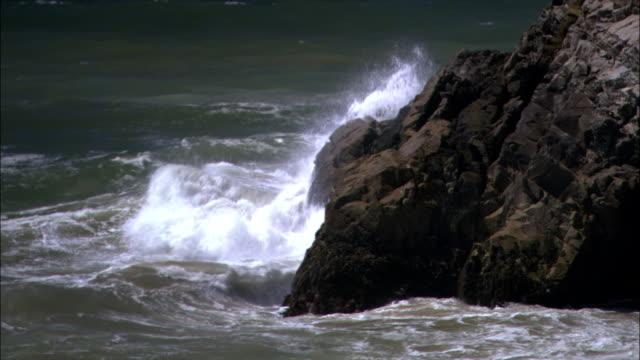 vídeos de stock e filmes b-roll de wide tracking shot tide coming in on beach/ malibu, california - pacífico norte