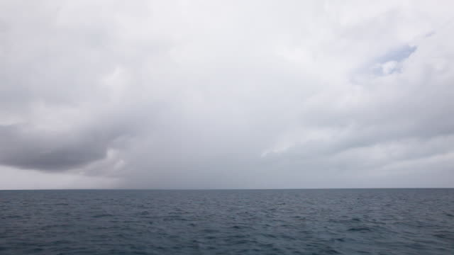 Wide, traveling across Sargasso Sea on overcast day