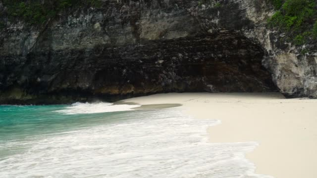 ターコイズブルーの水がある広いトロピカルビーチ - 熱帯の低木点の映像素材/bロール